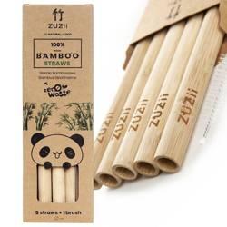 Słomki bambusowe duże 5 szt + czyścik