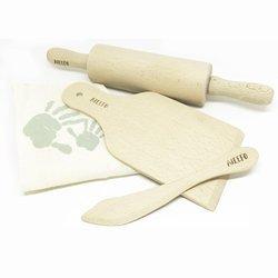 Zestaw drewnianych narzędzi kuchennych w bawełnianym worku